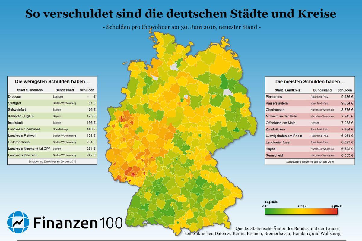 So Verschuldet Sind Deutschlands Stadte Und Landkreise Finanzen100